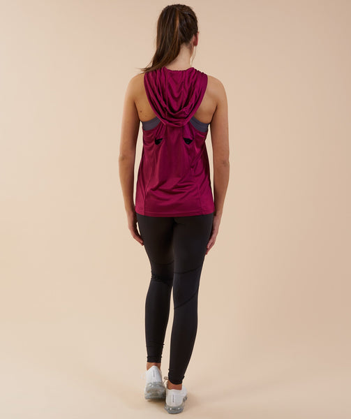 Gymshark Hooded Vest - Deep Plum 1