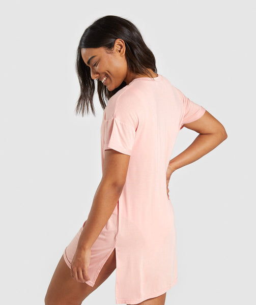 Gymshark Horizon Graphic Tee Dress - Peach 1
