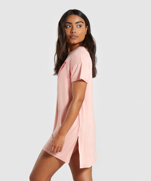 Gymshark Horizon Graphic Tee Dress - Peach 2