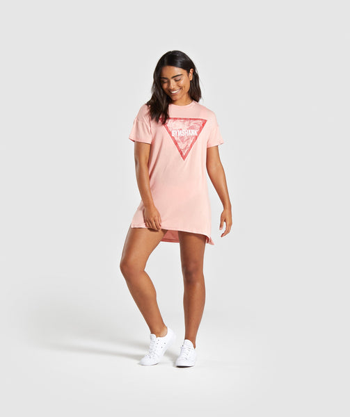 Gymshark Horizon Graphic Tee Dress - Peach 3
