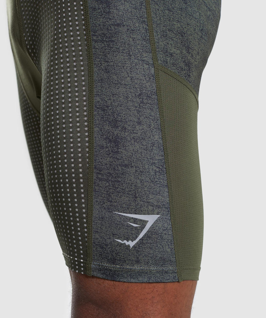 Gymshark Hybrid Baselayer Shorts - Woodland Green Marl 6