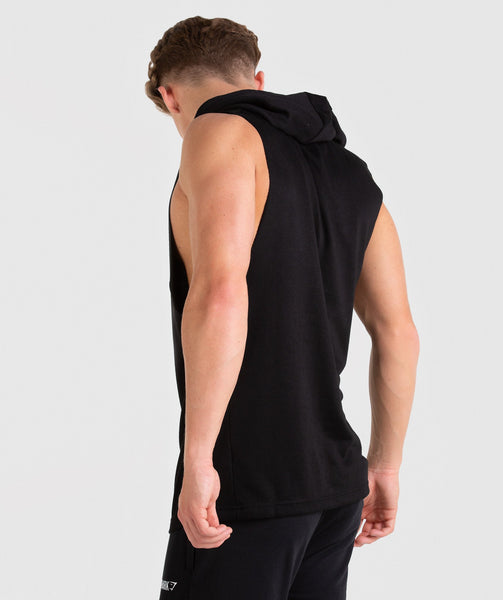 Gymshark Drop Arm Sleeveless Hoodie - Black 1