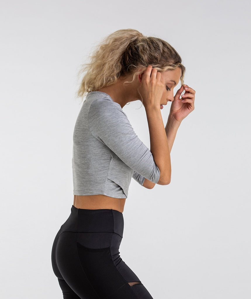Gymshark Ballet Crop Top - Light Grey Marl 2