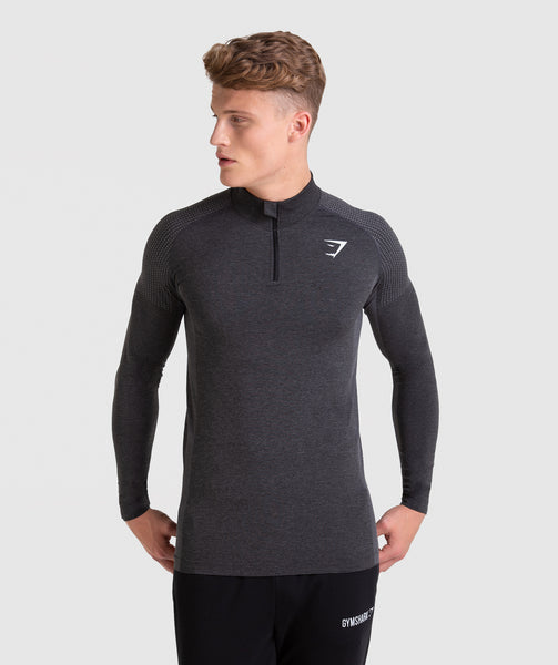a1295f9211b37 ... Gymshark Ghost 1 4 Zip Pullover - Black Marl 4 ...