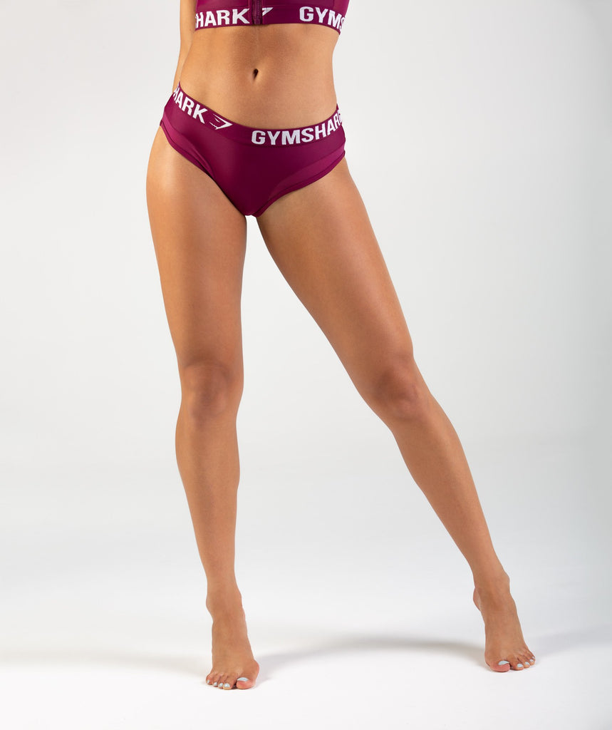 Gymshark Charge Sports Bikini Bottoms - Deep Plum 1