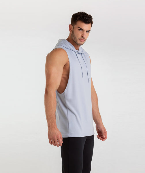 Gymshark Drop Arm Sleeveless Hoodie - Clear Water 4