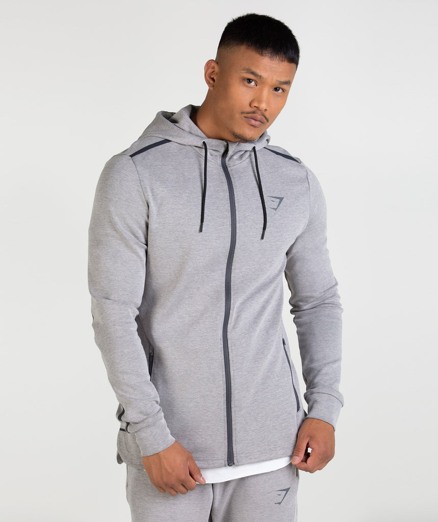 Gymshark Take Over Zip Hoodie - Light Grey Marl 1