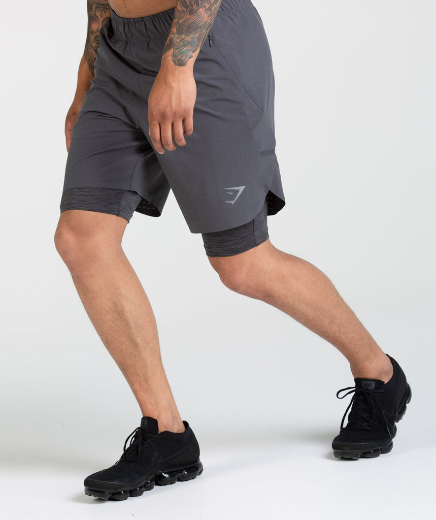Gymshark Perforated Two In One Shorts - Charcoal 1