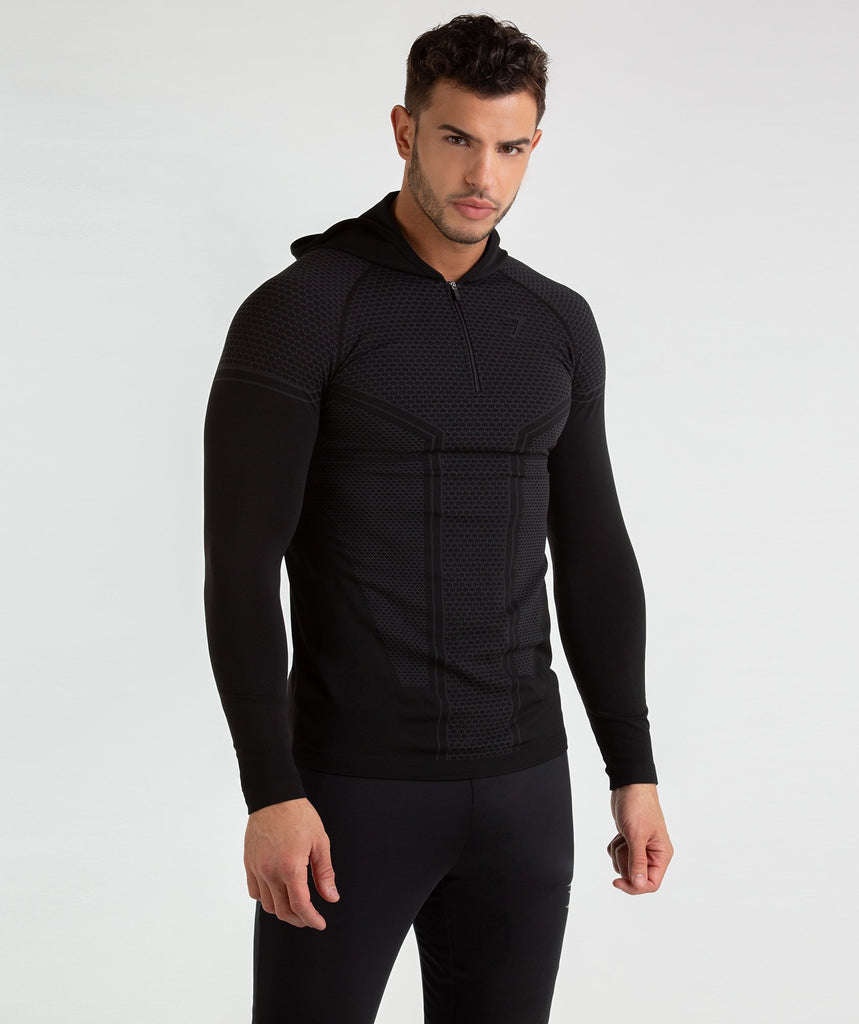 Gymshark Onyx Imperial Long Sleeve Hooded Top - Black 1
