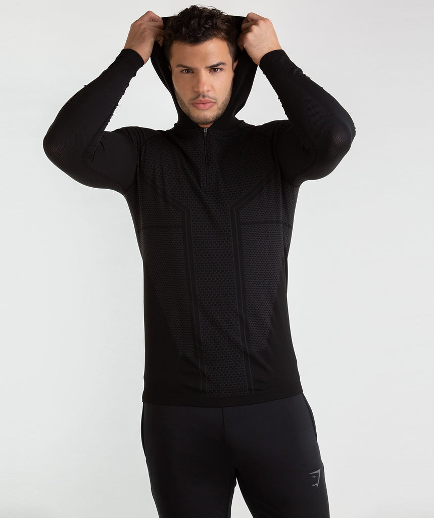 Gymshark Onyx Imperial Long Sleeve Hooded Top - Black 2