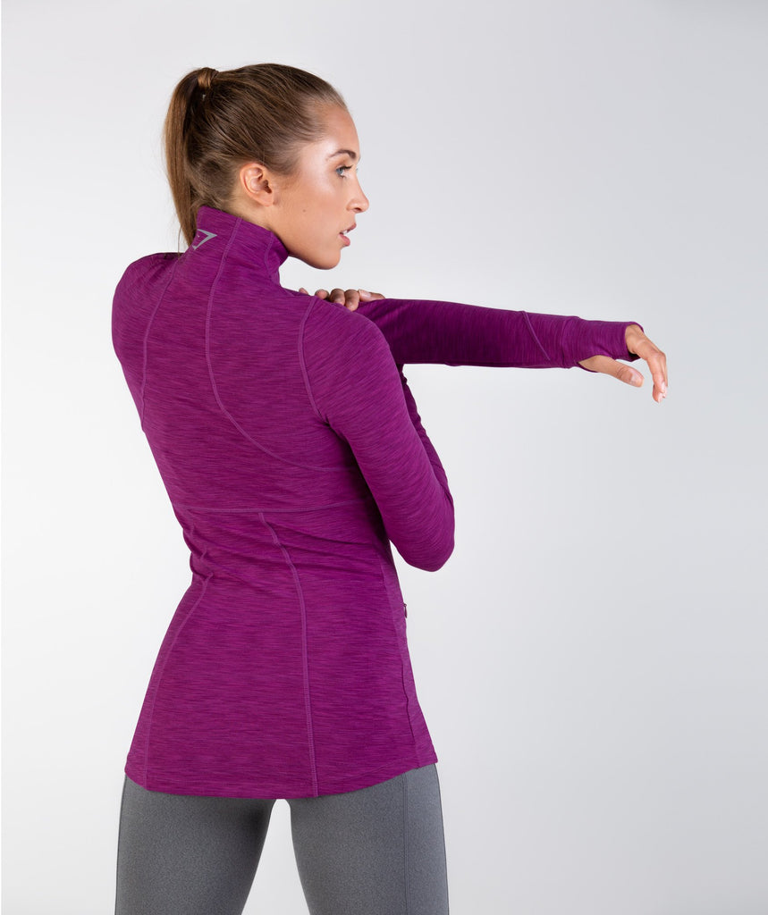Gymshark Limit 1/2 Zip Pullover - Deep Plum Marl 2