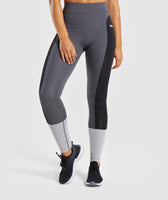 Gymshark Illusion Leggings - Black/Charcoal/Light Grey 7