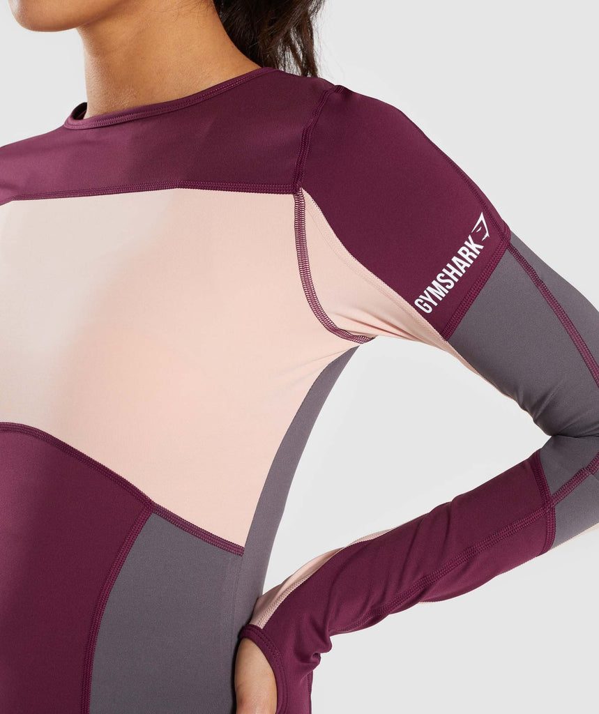 Gymshark Illusion Long Sleeve Top - Dark Ruby/Blush Nude/Slate Lavender 5