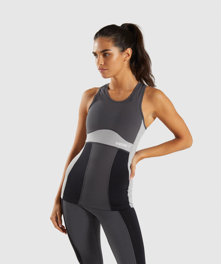 Gymshark Illusion Vest - Black/Charcoal/Light Grey 1