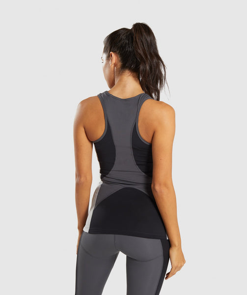 a0ffa8807e5 Gymshark Illusion Vest - Black Charcoal Light Grey 1 ...
