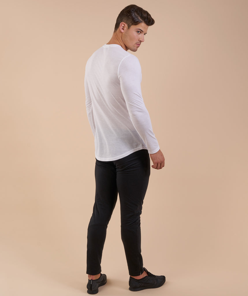 Perforated Longline Long Sleeve T-Shirt - White