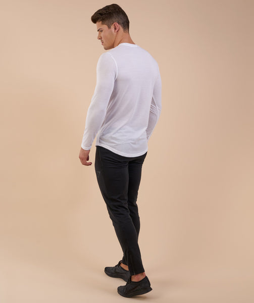 Perforated Longline Long Sleeve T-Shirt - White 3
