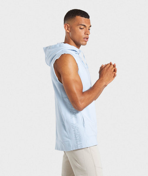 Gymshark Laundered Sleeveless Hoodie - Light Blue 2