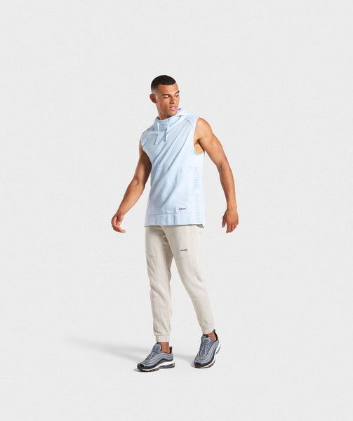 Gymshark Laundered Sleeveless Hoodie - Light Blue 3