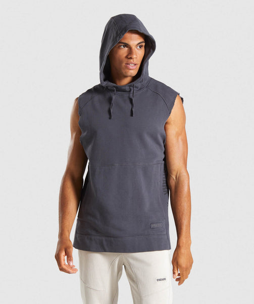 Gymshark Laundered Sleeveless Hoodie - Charcoal 4