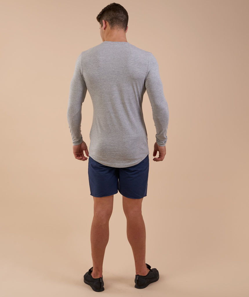 Gymshark Solace Longline Long Sleeve T-shirt - Light Grey Marl