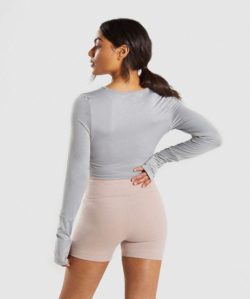 Gymshark Long Sleeve Ballet Crop Top - Light Grey 2