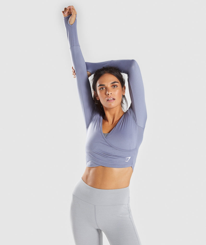 Gymshark Long Sleeve Ballet Crop Top - Steel Blue 1