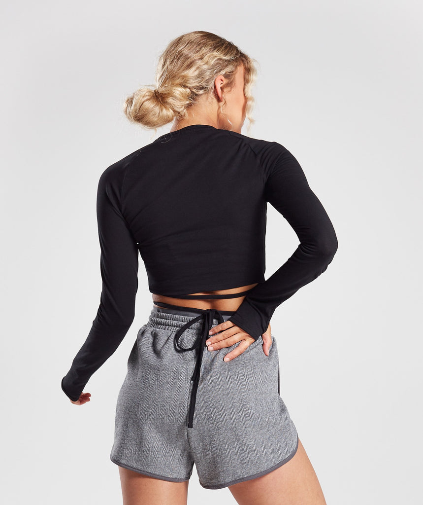 Gymshark Long Sleeve Ribbon Crop Top - Black 2