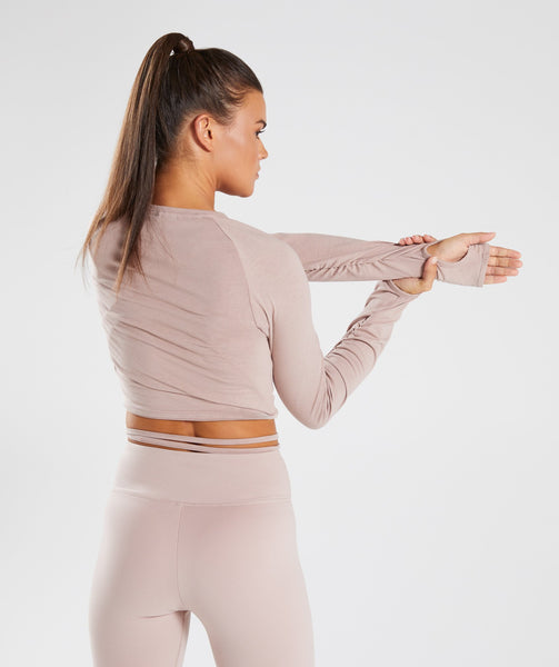 Gymshark Long Sleeve Ribbon Crop Top - Taupe 1