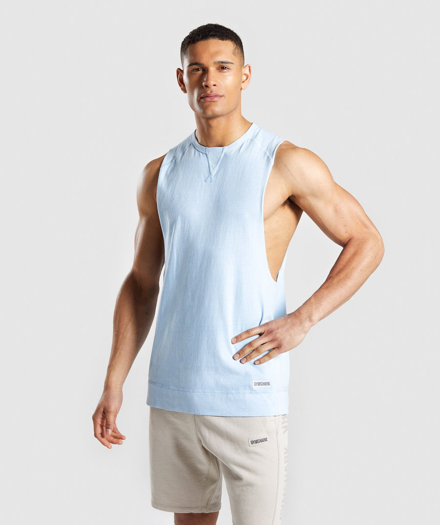 Gymshark Laundered Drop Arm Tank - Light Blue 1