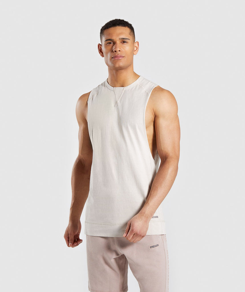 7e13af6c63ee0d Gymshark Laundered Drop Arm Tank - Chalk Grey 1
