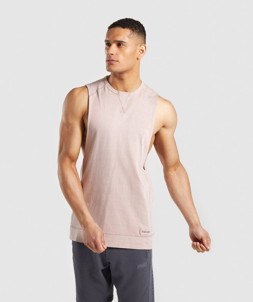 55bbfea3e18c29 Gymshark Laundered Drop Arm Tank - Nude 1
