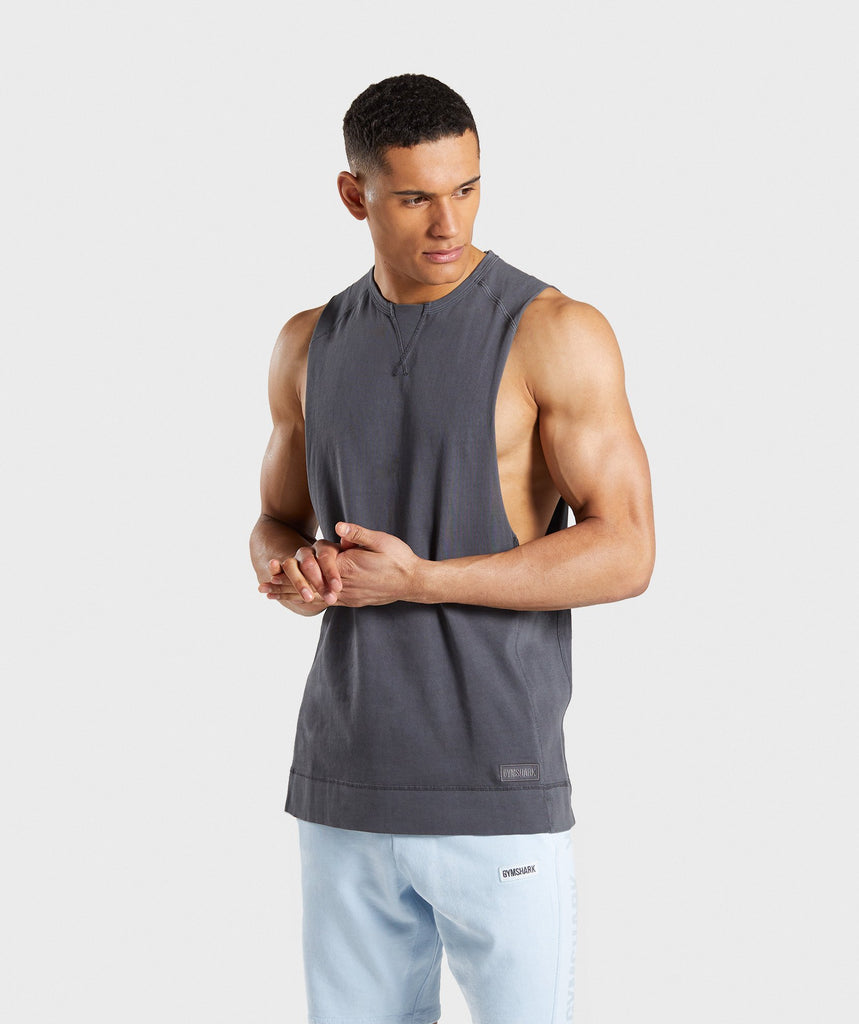 65213a28548b3 Gymshark Laundered Drop Arm Tank - Charcoal 1