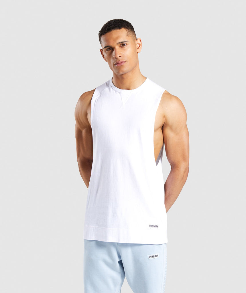 56287cb74bd95 Gymshark Laundered Drop Arm Tank - White 1