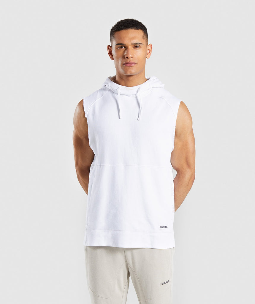 Gymshark Laundered Sleeveless Hoodie - White 1