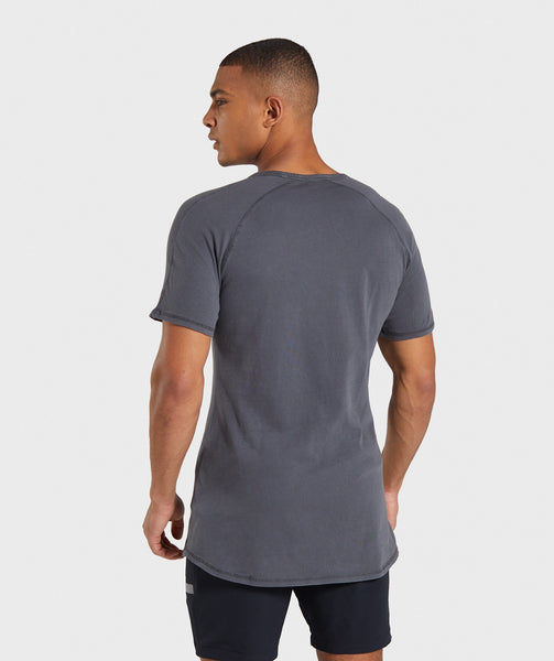 Gymshark Laundered Square Logo T-Shirt - Charcoal 1