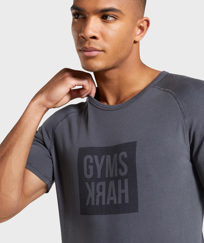 Gymshark Laundered Square Logo T-Shirt - Charcoal 5