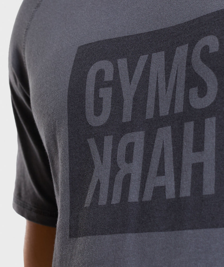 Gymshark Laundered Square Logo T-Shirt - Charcoal 6