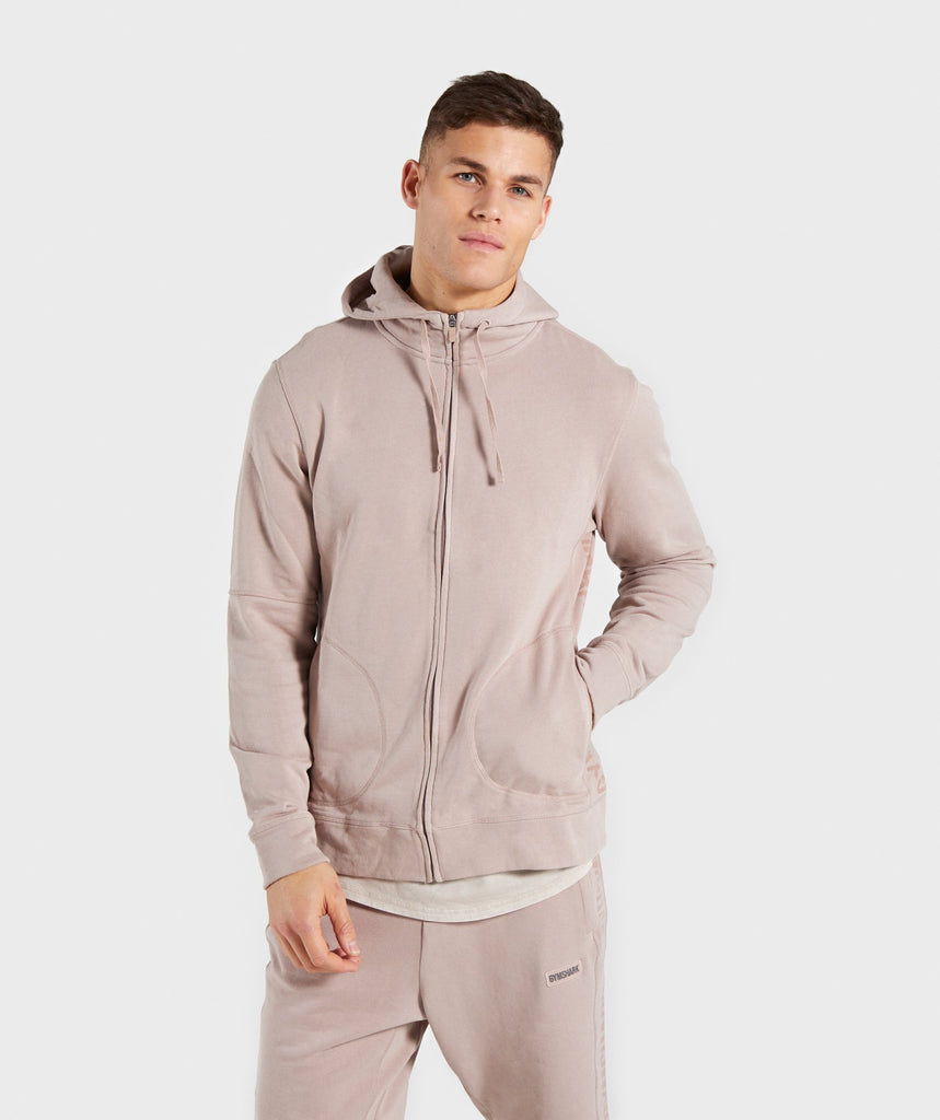 5bb9a8e0cbdc90 Gymshark Laundered Zip Hoodie - Nude 1