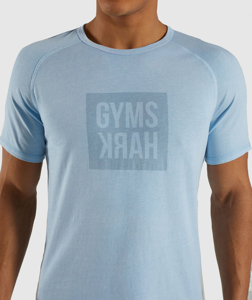 Gymshark Laundered Square Logo T-Shirt - Blue 6