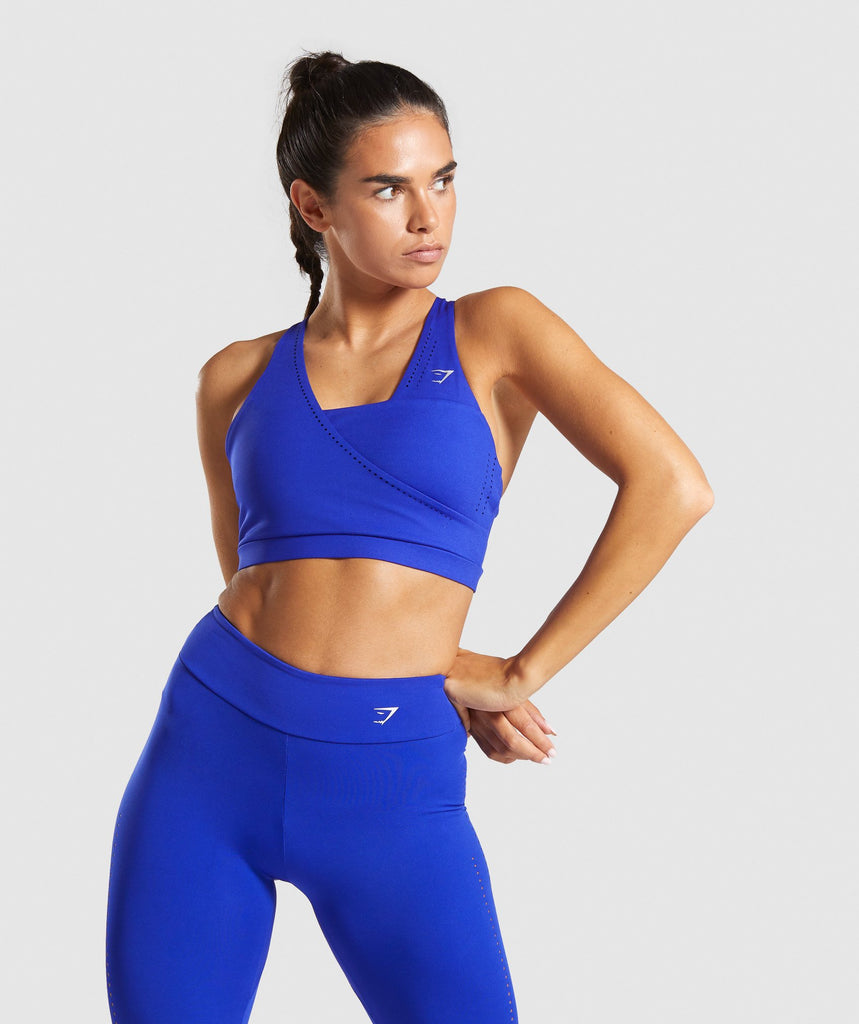 Gymshark Laser Cut Sports Bra - Blue 4