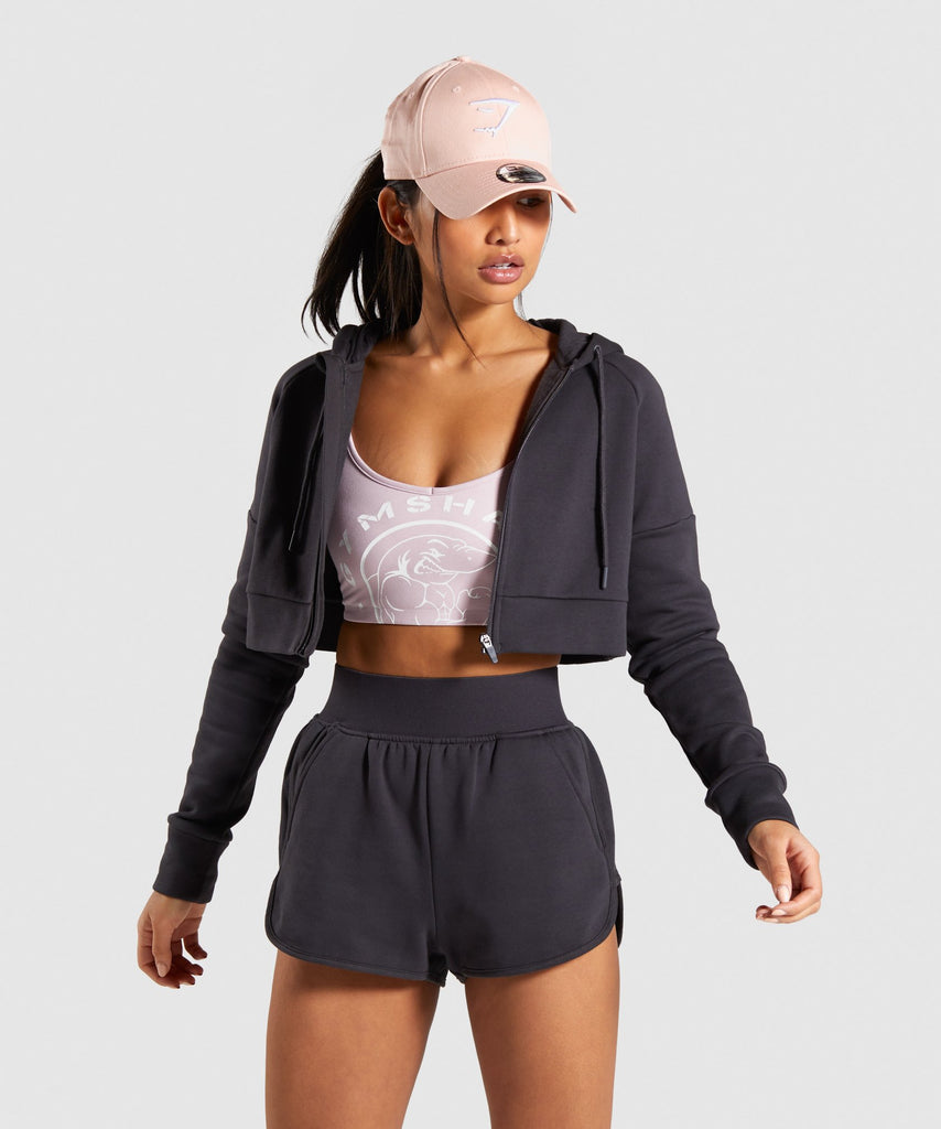 Gymshark Legacy Fitness Crop Zip Hoodie - Washed Black 1
