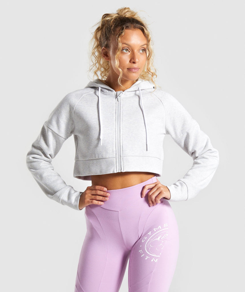 Gymshark Legacy Fitness Crop Zip Hoodie - Light Grey 1