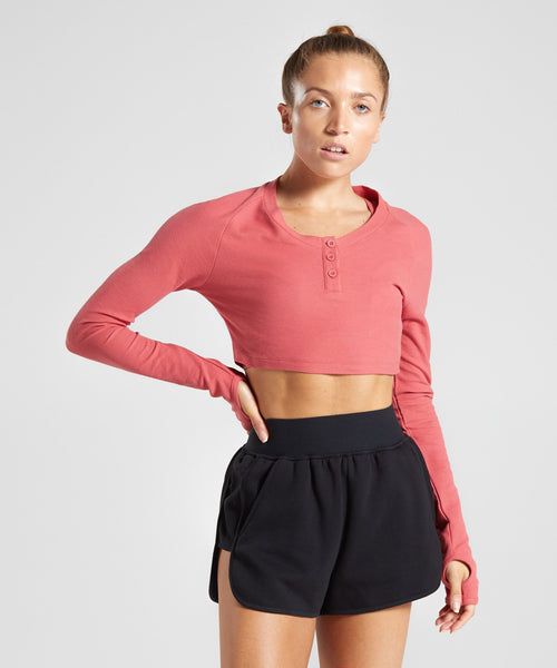 Gymshark Legacy Fitness Long Sleeve Crop Top - Brick Red 4