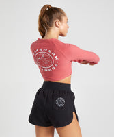 Gymshark Legacy Fitness Long Sleeve Crop Top - Brick Red 8