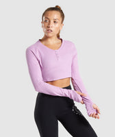 Gymshark Legacy Fitness Long Sleeve Crop Top - Pink 7