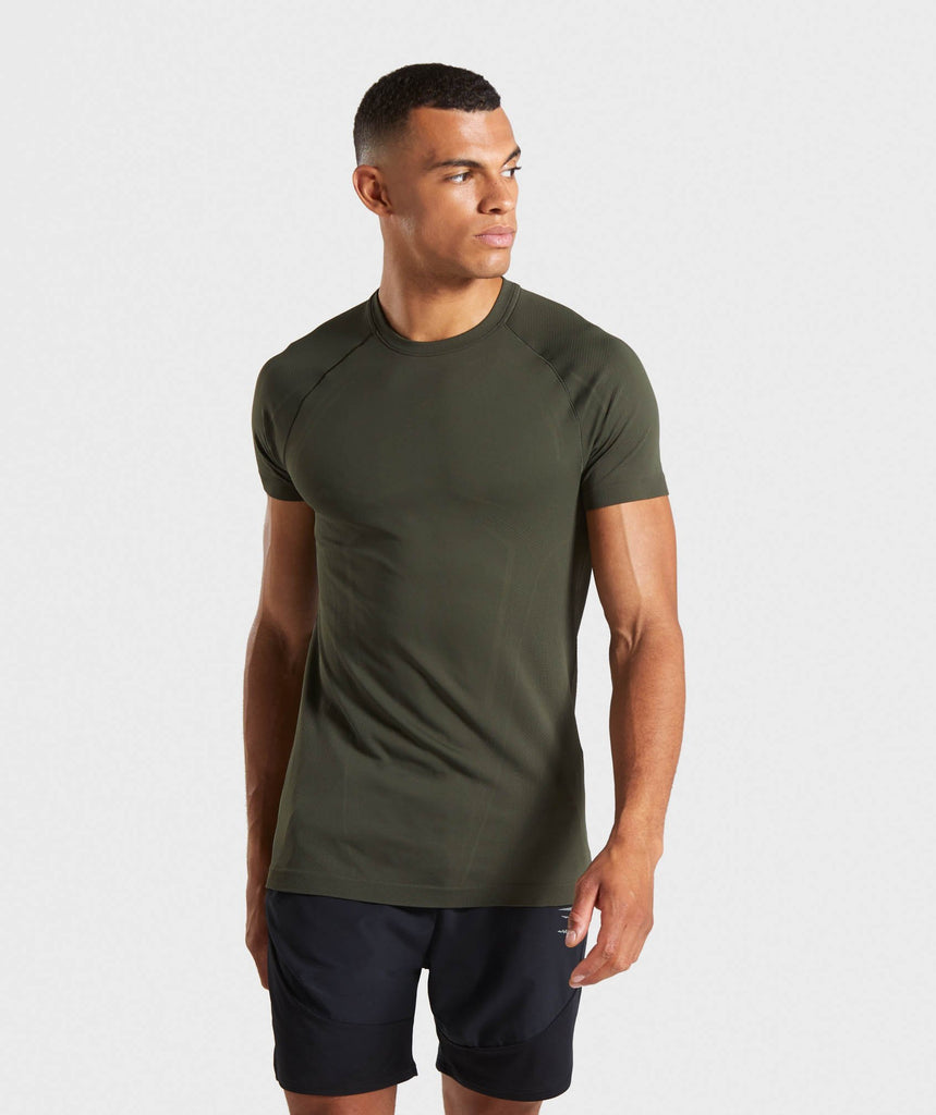 Gymshark Lightweight Seamless T-Shirt - Dark Green 1