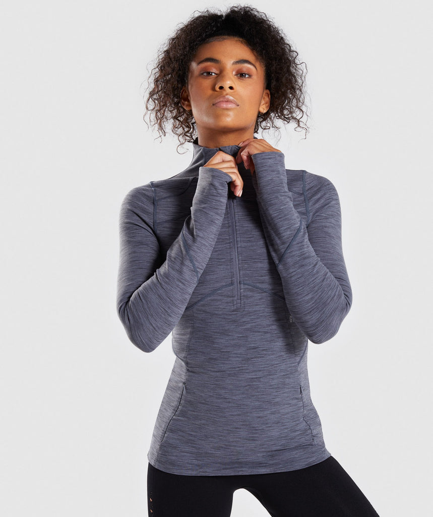 Gymshark Limit 1/2 Zip Pullover - Charcoal Marl 1