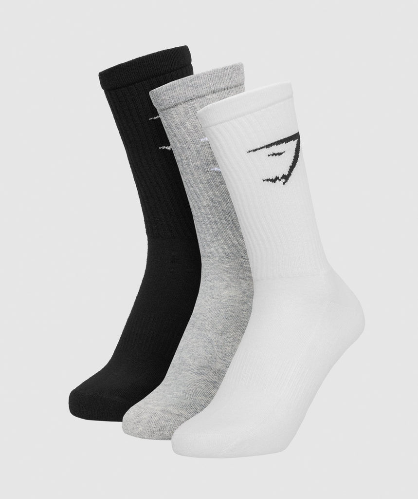 Gymshark Mens Crew Socks (3pk) - White/Grey Marl/Black 1
