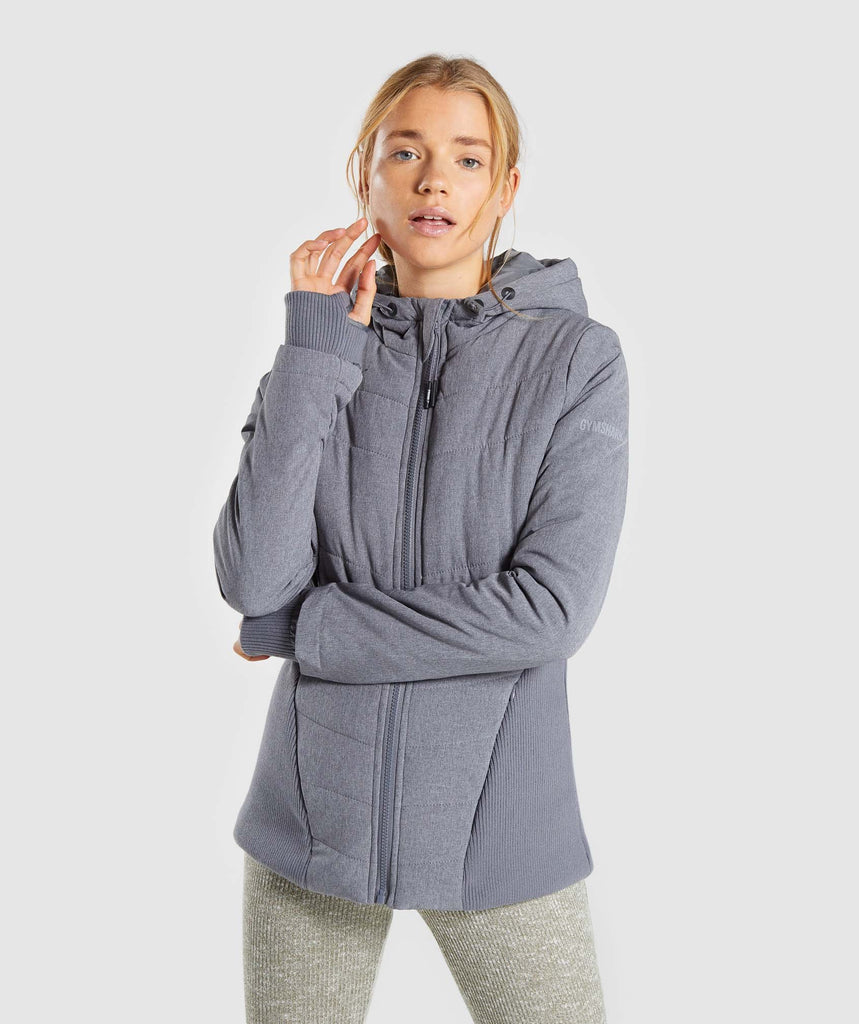 Gymshark Mellow Fitted Puffer Jacket - Charcoal Marl 1